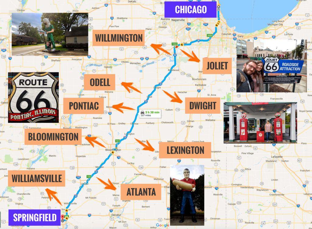Recorrido Etapa 1 de la Ruta 66: Chicago - Springfield