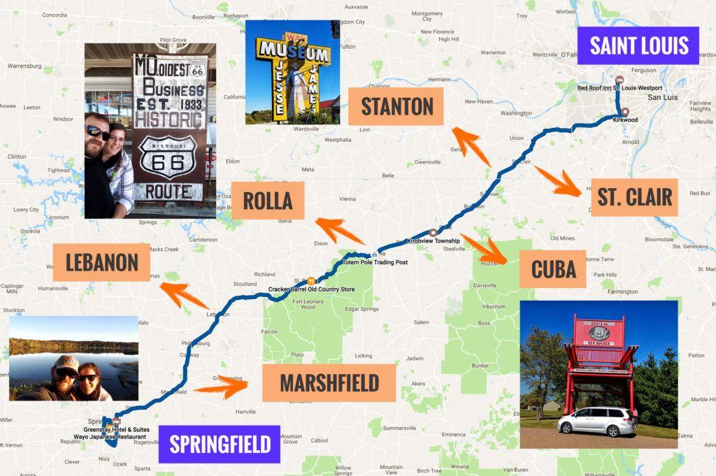 Recorrido Etapa 3 de la Ruta 66: Saint Louis – Springfield