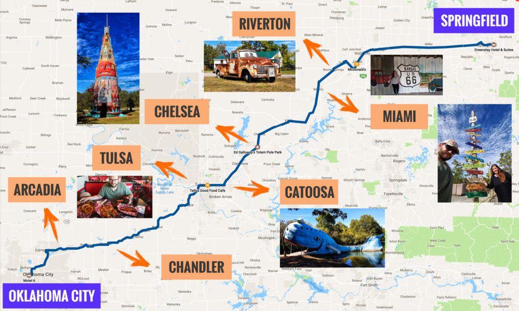 Recorrido Etapa 4 de la Ruta 66: Springfield - Oklahoma