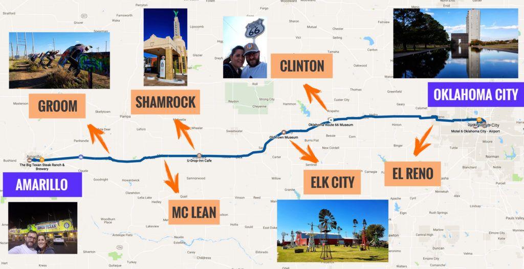 Recorrido Etapa 5 de la Ruta 66: Oklahoma - Amarillo