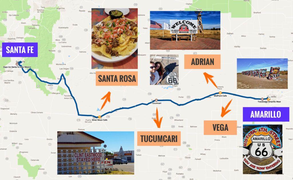 Recorrido Etapa 6 de la Ruta 66: Amarillo - Santa Fe