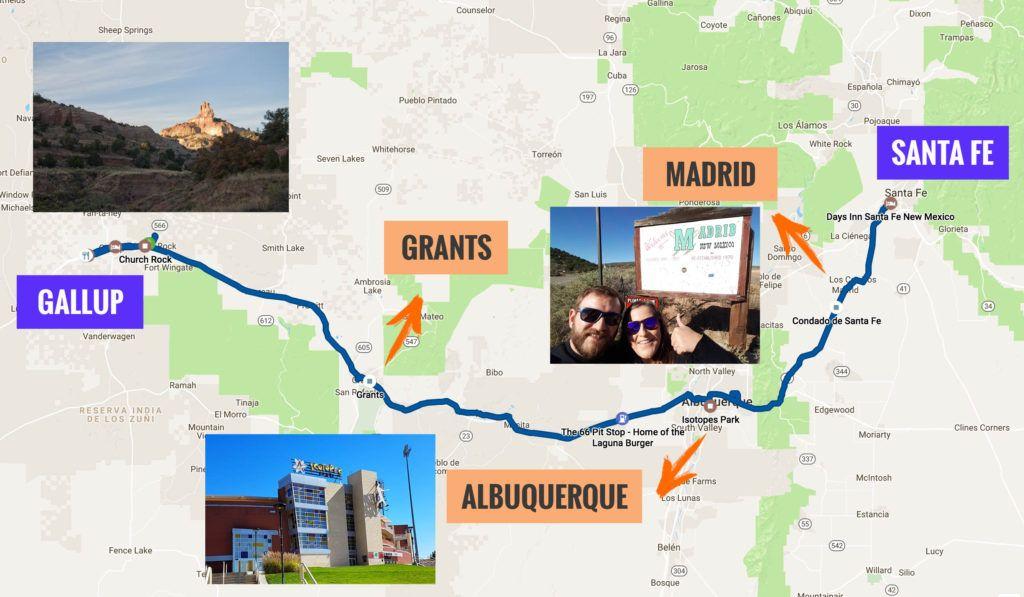 Recorrido Etapa 6 de la Ruta 66: Santa Fe - Gallup