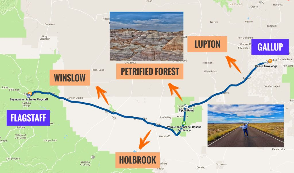 Recorrido Etapa 8 de la Ruta 66: Gallup - Flagstaff
