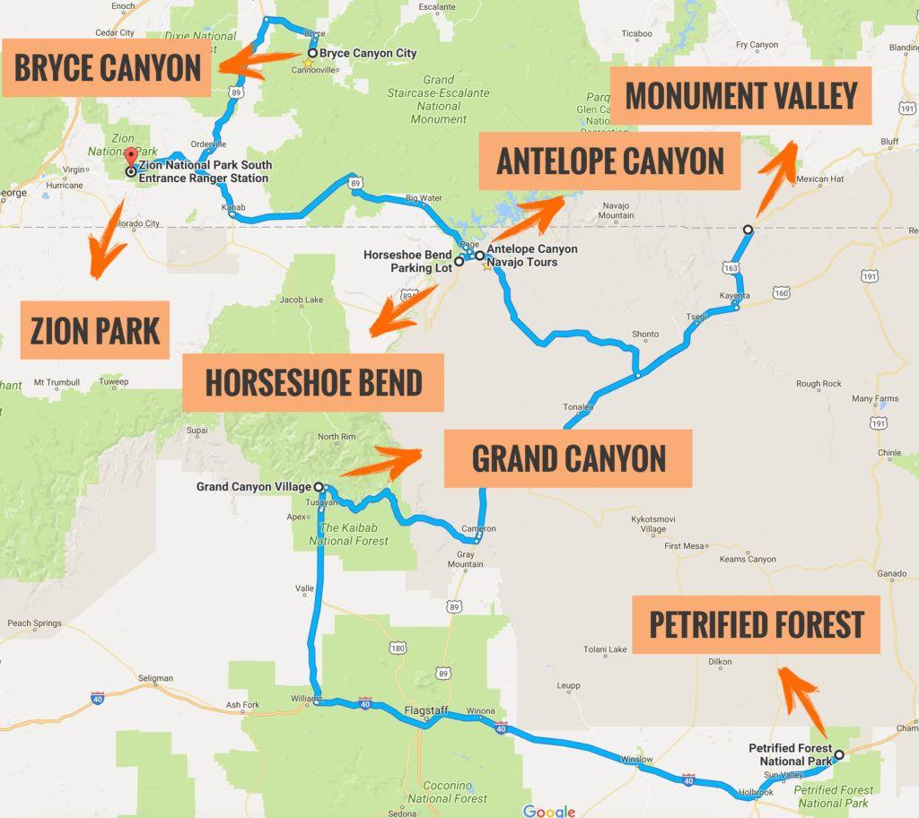 Mapa Parques Nacionales EEUU