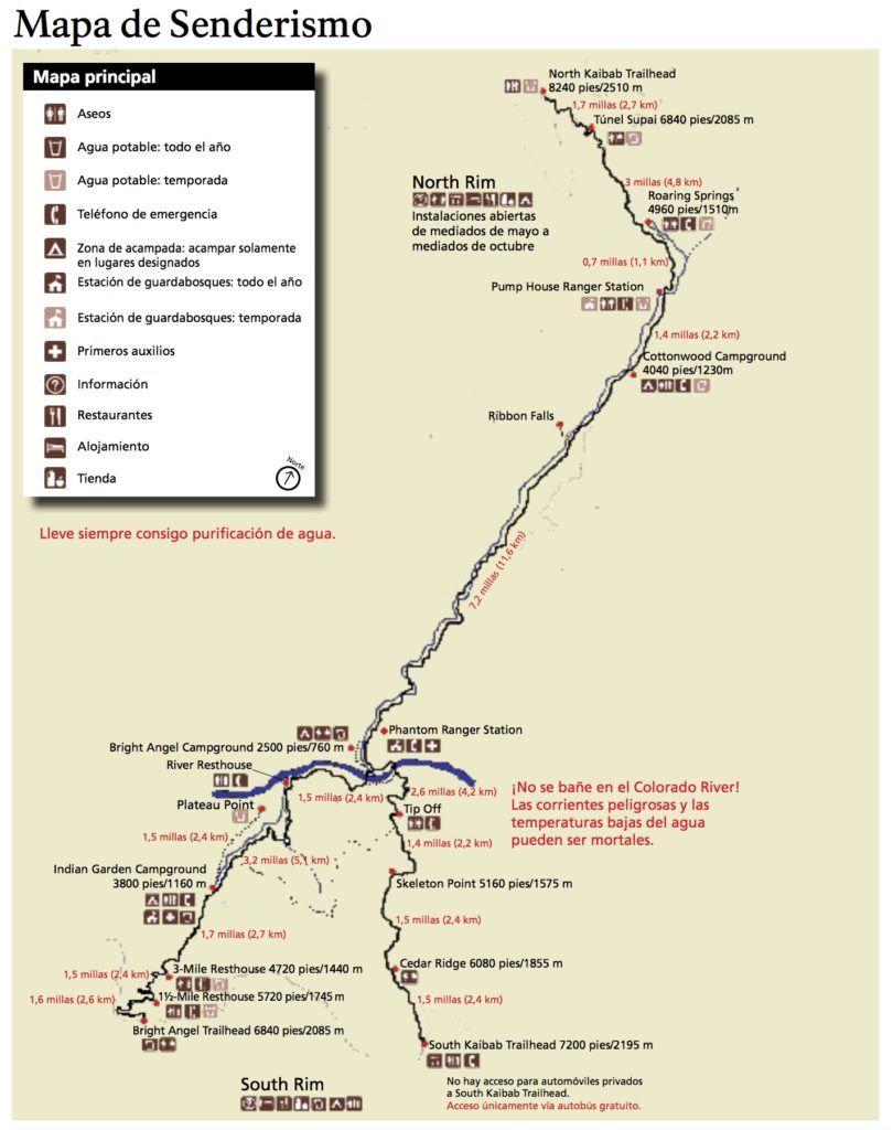 Parques Nacionales EEUU: Mapa de senderismo del Gran Cañón del Colorado