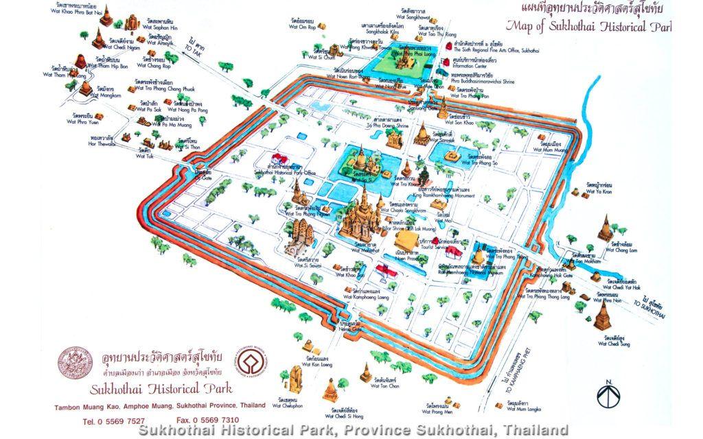 Qué ver en Sukhothai: Mapa de la zona histórica de Sukhothai