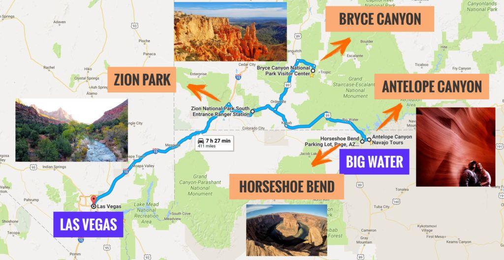 Recorrido Etapa 10 de la Ruta 66: Big Water - Las Vegas