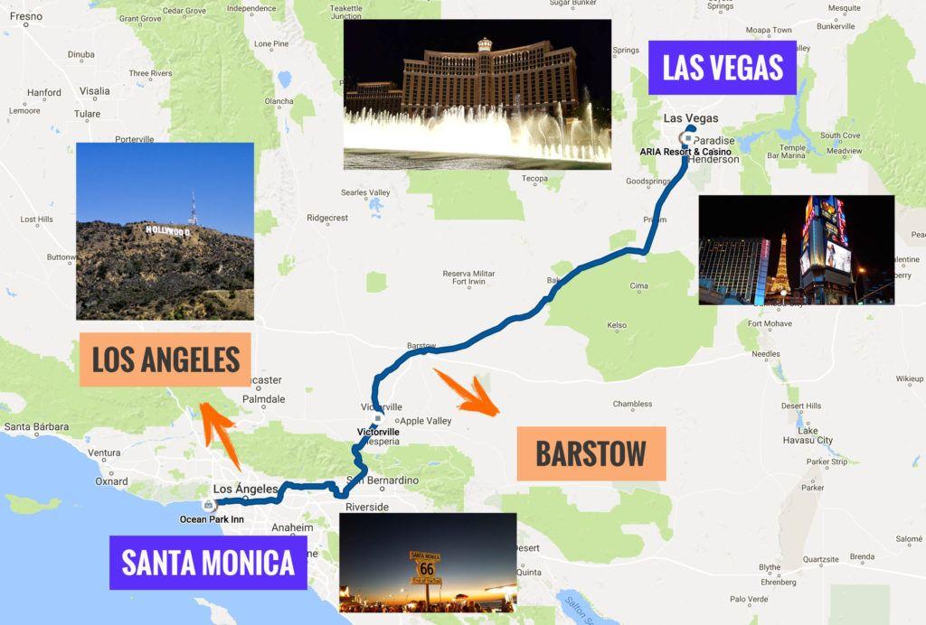 Recorrido Etapa 11 de la Ruta 66: Las Vegas - Santa Mónica