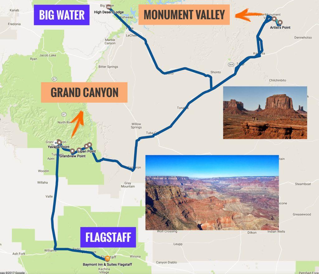Recorrido Etapa 9 de la Ruta 66: Flagstaff - Big Water