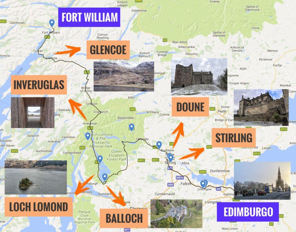Recorrido y puntos de interés de la primera etapa de nuestra ruta por Escocia