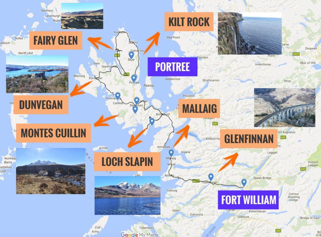Recorrido y puntos de interés de la segunda etapa de nuestra ruta por Escocia