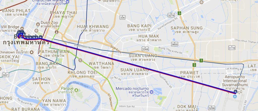 Cómo ir del aeropuerto de Bangkok al centro de la ciudad: Línea S1 hasta Khao San RoadCómo ir del aeropuerto de Bangkok al centro de la ciudad: Línea S1 hasta Khao San Road