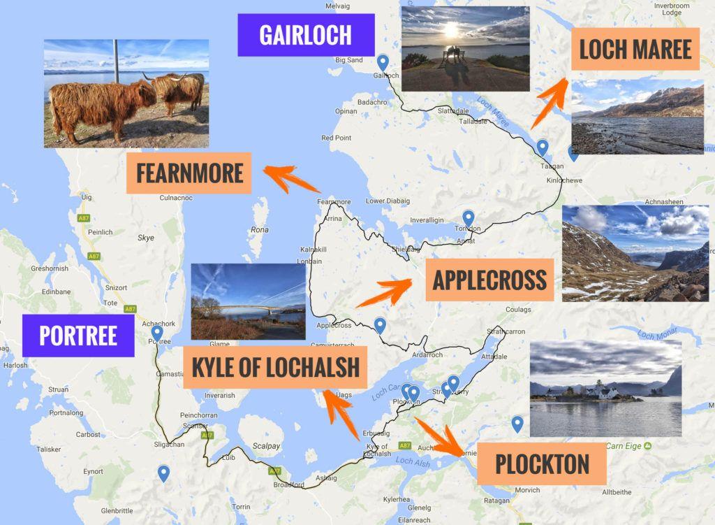 Recorrido y puntos de interés de la tercera etapa de nuestra ruta por Escocia