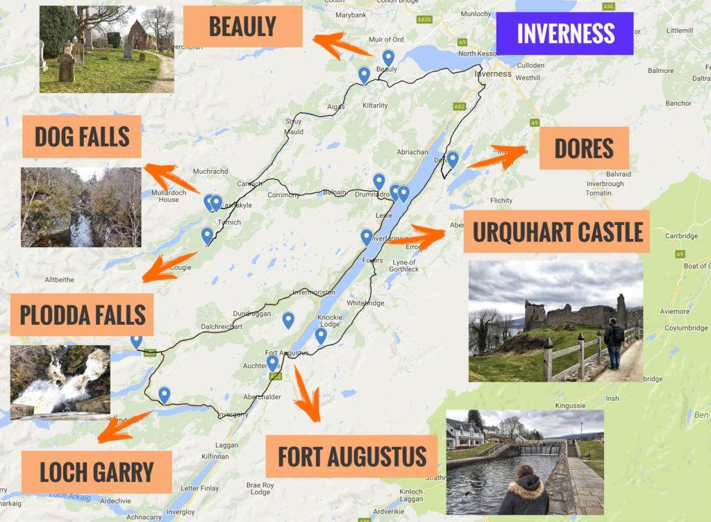 Recorrido y puntos de interés de la quinta etapa de nuestra ruta por Escocia
