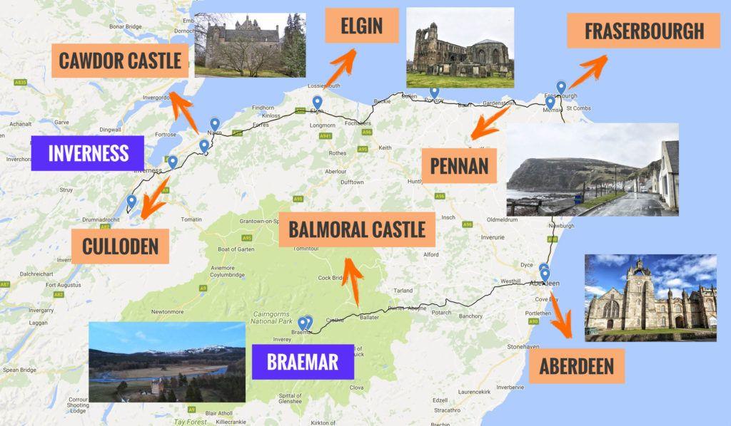 Recorrido y puntos de interés de la sexta etapa de nuestra ruta por Escocia