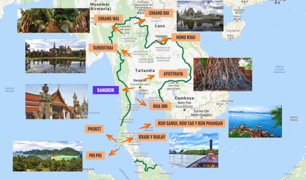 Mapa de Tailandia y puntos más importantes