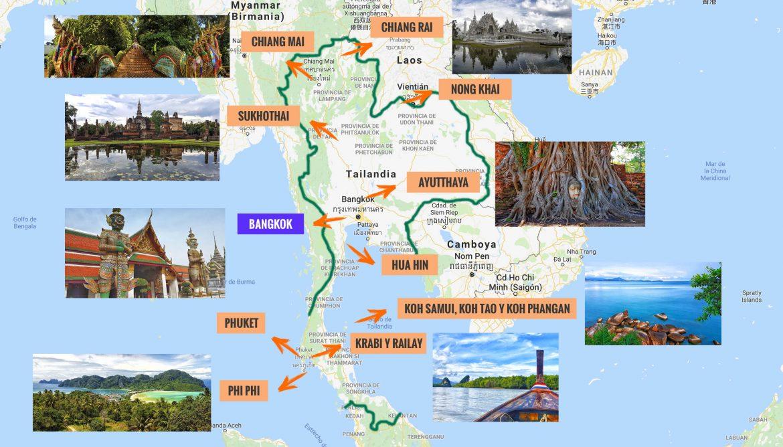 Islas De Tailandia Mapa.Mapa De Tailandia Que Ver Puntos De Interes