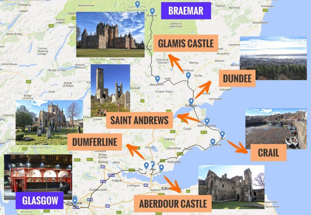 Recorrido y puntos de interés de la séptima etapa de nuestra ruta por Escocia