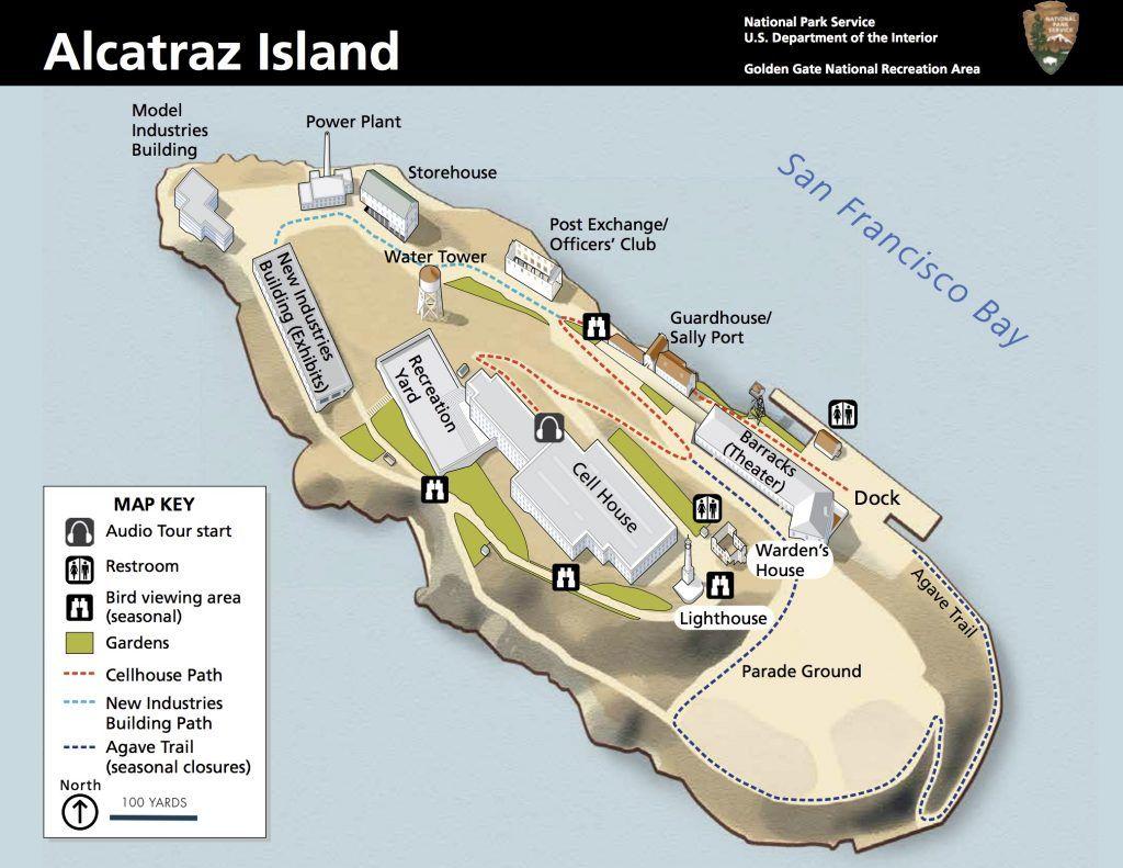 visitar alcatraz - mapa de alcatraz