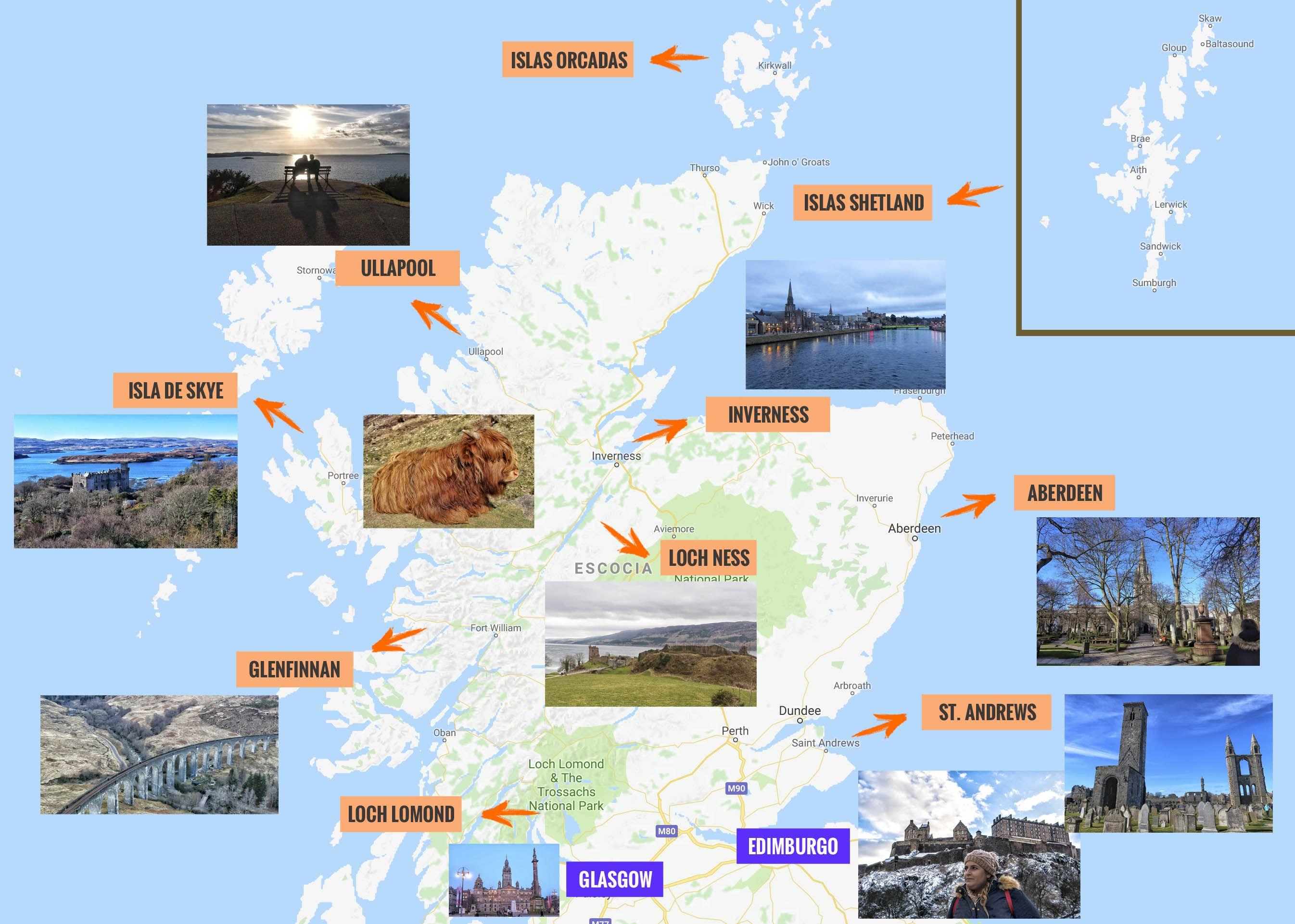 Mapa De Escocia Que Ver Puntos De Interes