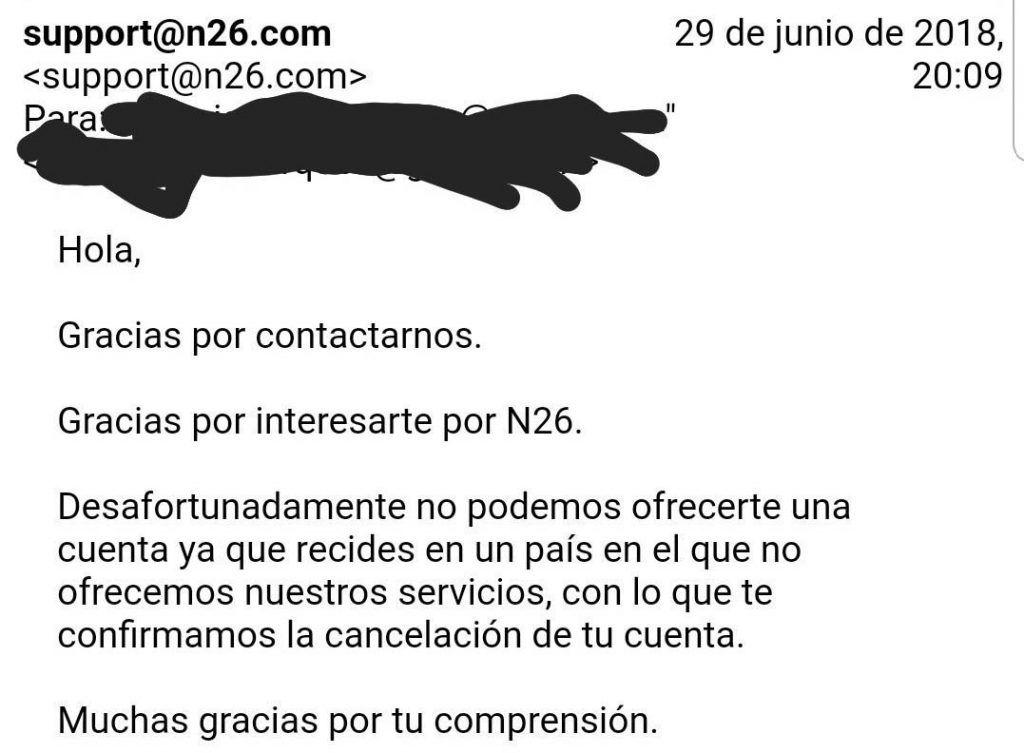 Atencion al cliente de N26