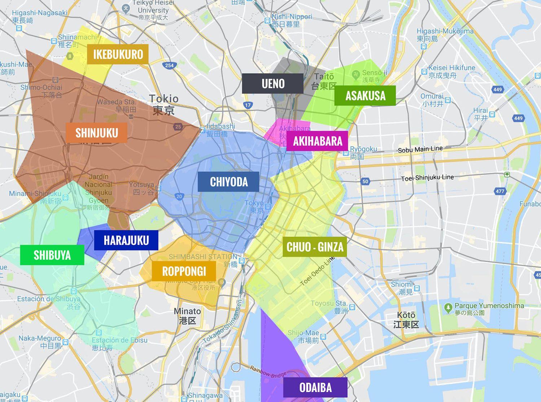 Barrios De Tokio Mapas Que Ver Itinerarios