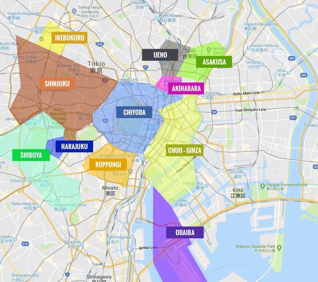 mapa barrios tokio - mapa de tokio