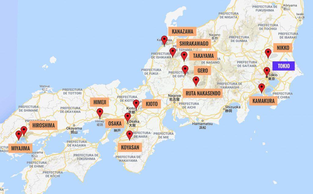 Guía de Japón - Mapa Japón