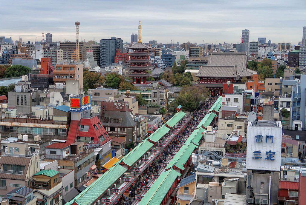 Qué ver en Asakusa: Nakamise Dori desde las alturas