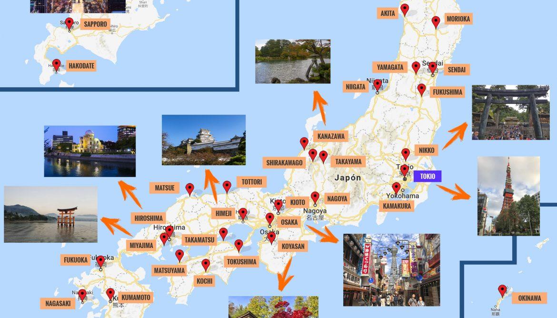 Mapa De Japon Ciudades.Mapa De Japon Que Ver Puntos De Interes
