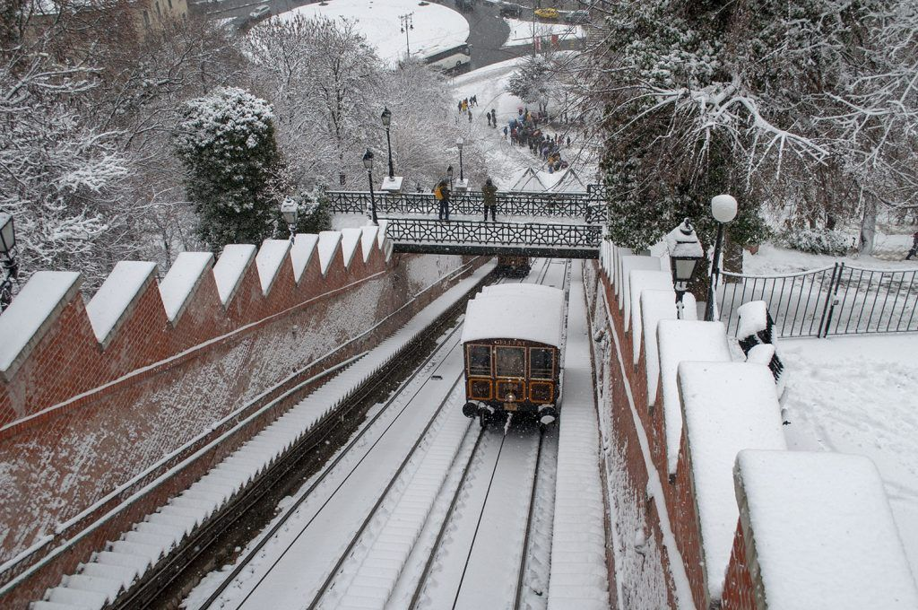 Qué ver en Budapest: Funicular nevado