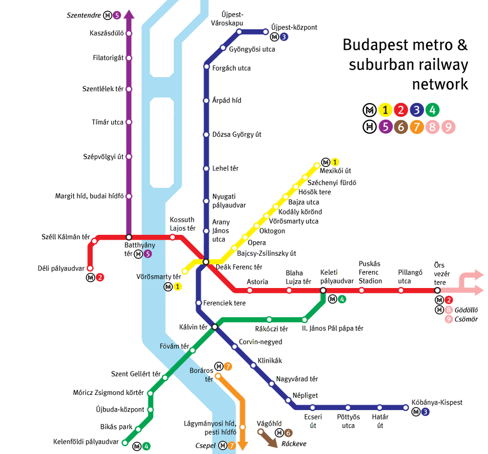 Transporte en Budapest: plano de metro