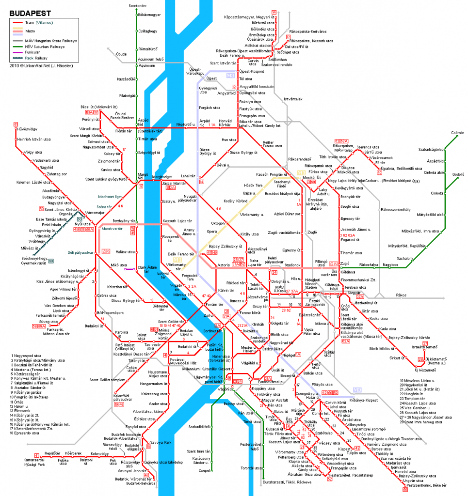 Transporte en Budapest: plano de tranvía