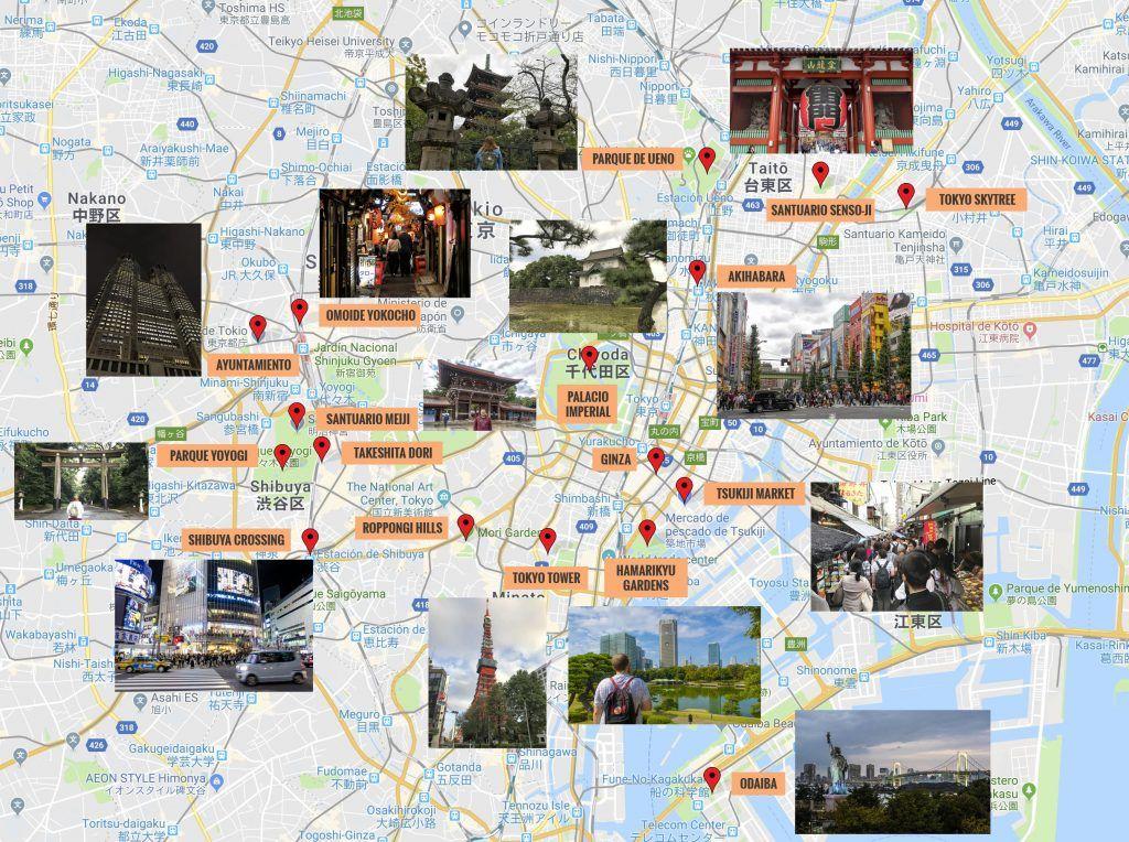 Mapa de Tokio con los puntos de interés más importantes