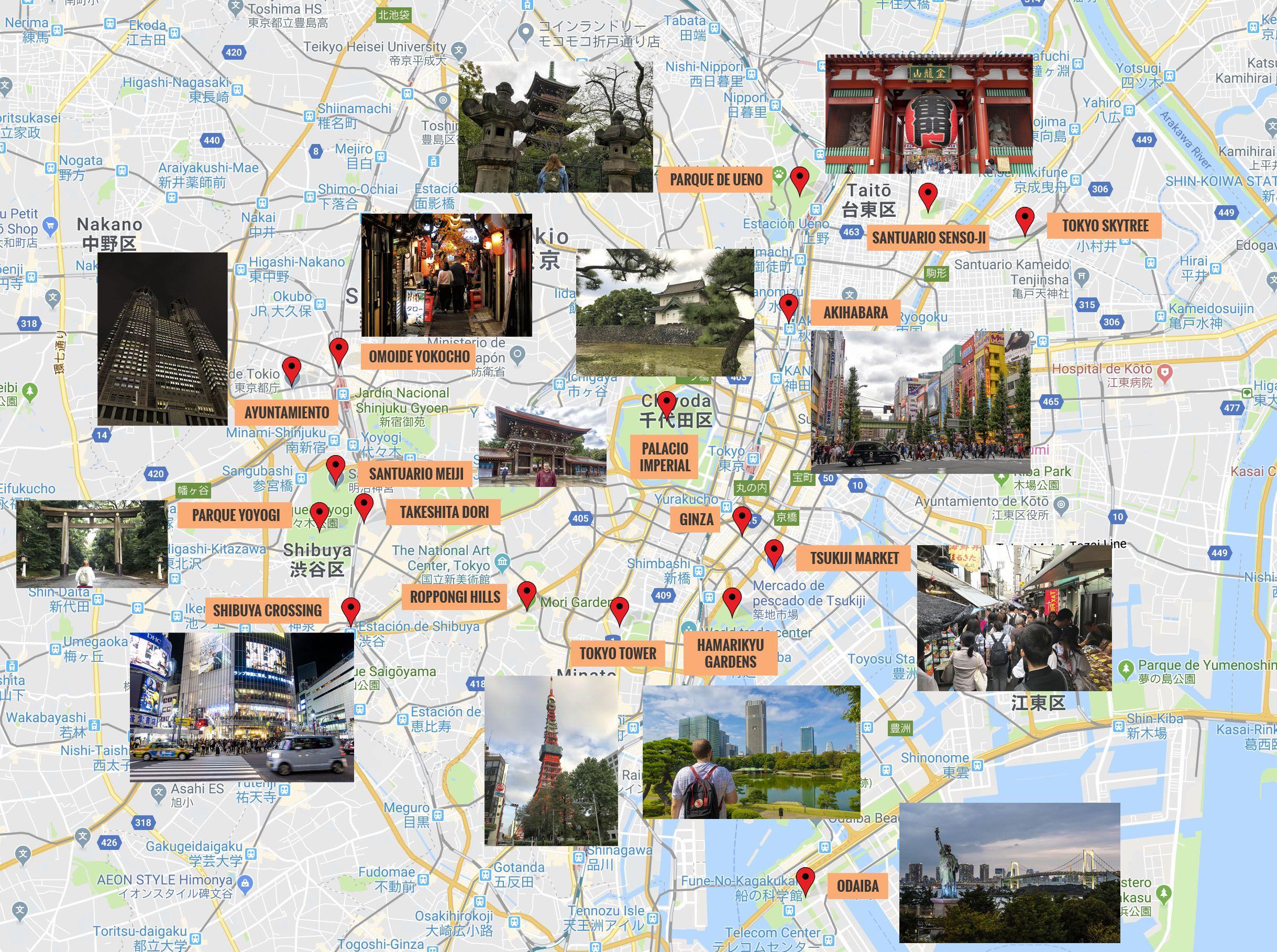 Mapa De Tokio Que Ver Puntos De Interes