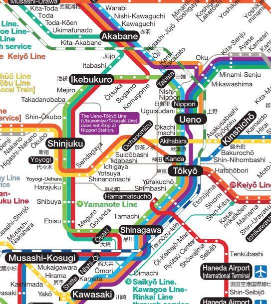 Mapa trenes JR Centro de Tokio - Transporte en Tokio