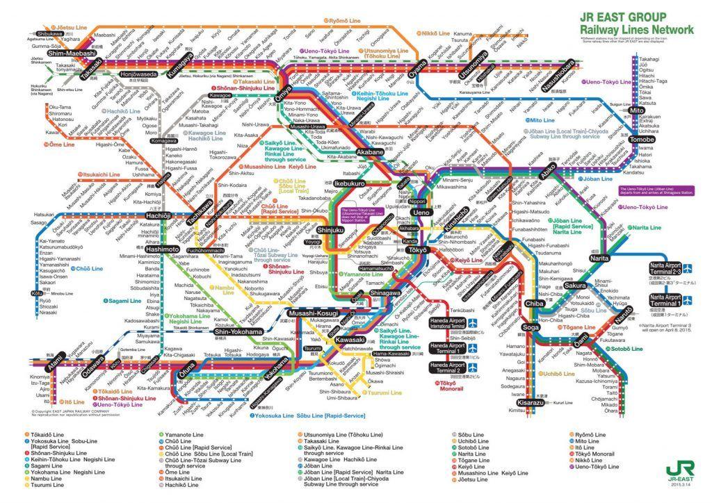 Mapa trenes JR Tokio - Transporte en Tokio