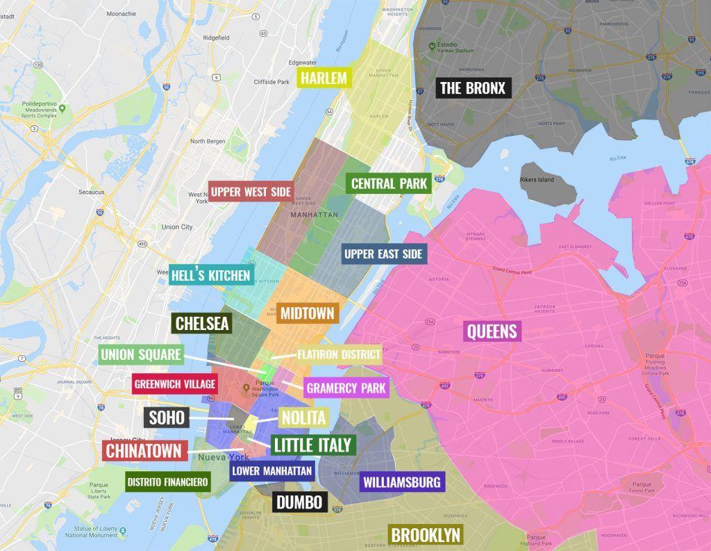 Mapa de Nueva York: Barrios de Nueva York