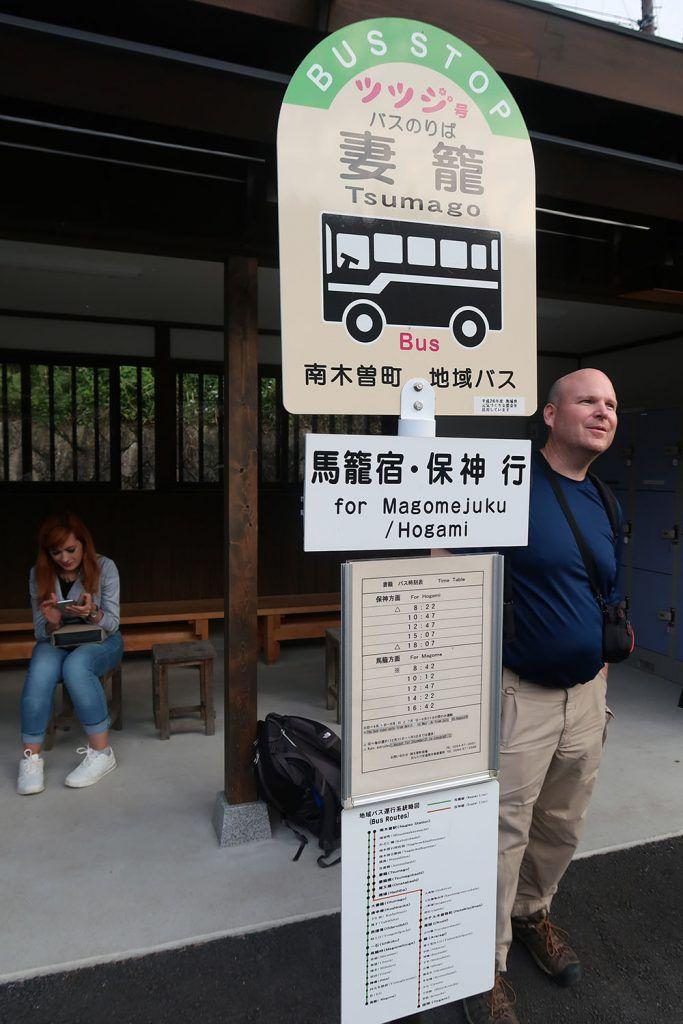 Parada de autobús en Tsumago - Transporte en Japón