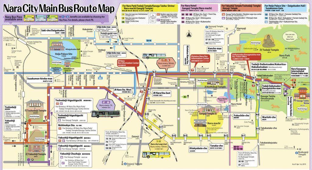 Qué ver en Nara - Mapa de buses de Nara