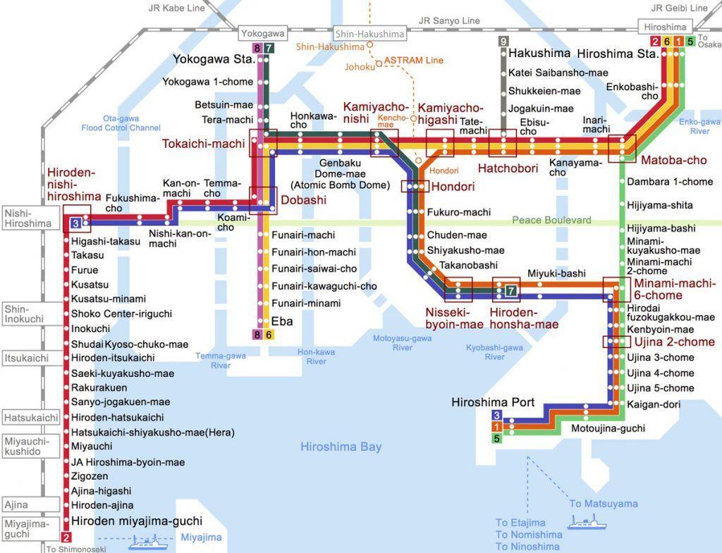 Cómo moverse por Hiroshima: mapa del tranvía