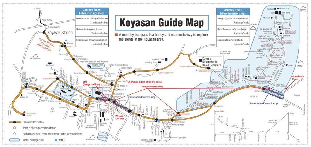 Qué ver en Koyasan: Mapa de autobuses en Koyasan