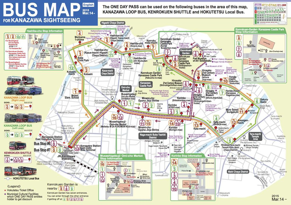 Qué ver en Kanazawa: Mapa Kanazawa Loop Bus