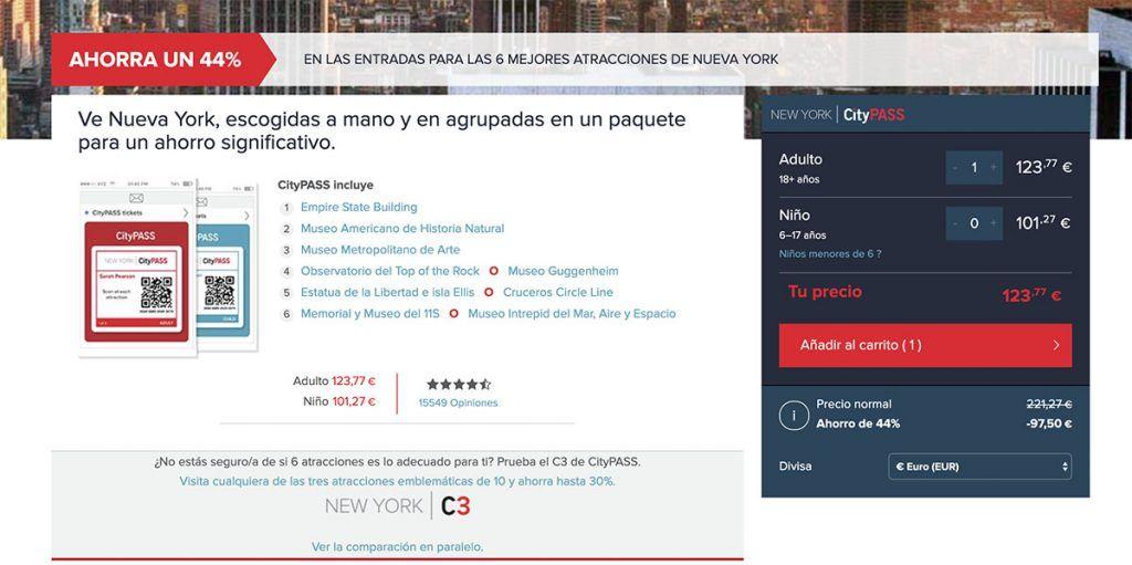 Tarjeta turística New York CityPASS: Web de CityPASS