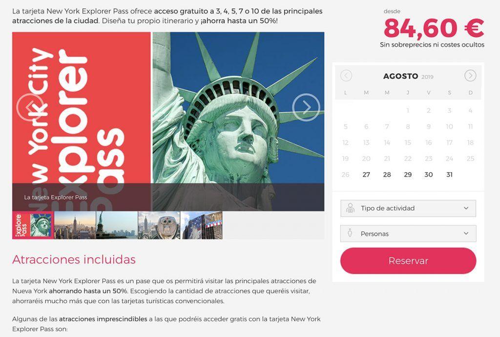 Tarjeta turística New York Explorer Pass: Web de Go NY Explorer Pass
