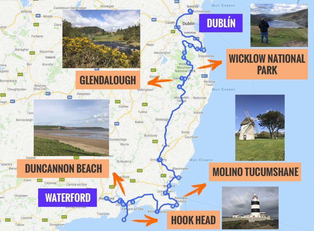 Recorrido y puntos de interés de la primera etapa de nuestra ruta por Irlanda