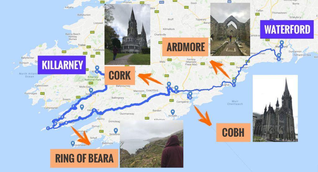 Recorrido y puntos de interés de la segunda etapa de nuestra ruta por Irlanda