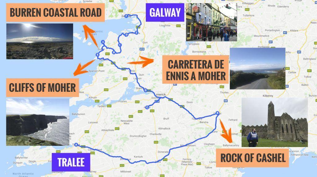 Recorrido y puntos de interés de la cuarta etapa de nuestra ruta por Irlanda: Rock of Cashel, Moher y Galway