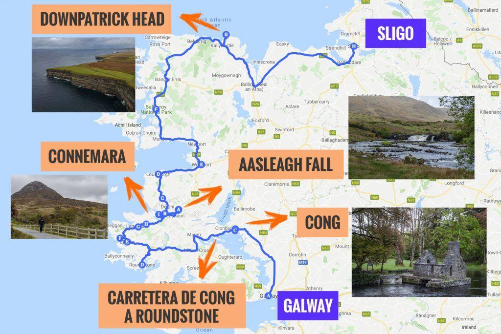 Recorrido y puntos de interés de la quinta etapa de nuestra ruta por Irlanda: Cong, Connemara y Downpatrick Head