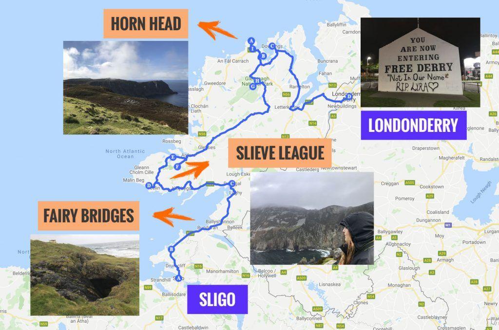 Recorrido y puntos de interés de la sexta etapa de nuestra ruta por Irlanda: Slieve League y Horn Head